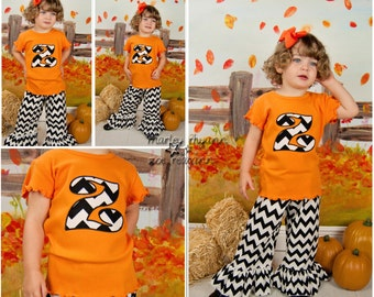 Personalized Pant Set, Personalized Shirt with Ruffle Shorts, Capri, or Pants, Halloween Pants Set