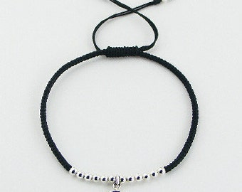 Waxed Cotton and Sterling Silver Bracelet with Evil Eye Charm