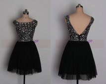 2016 short black tulle prom dresses with rhinestons,best cheap beaded homecoming gowns on sale,chic women dress for holiday party.