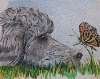 Curious Puppy with Butterfly (Print)