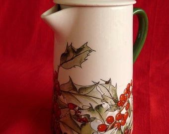 GIEN Le Houx Holly COFFEE POT Server Holiday Leaves & Berries..Made in France...Mint. Clean Condition and Free usa Shipping!!