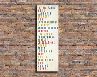 "FAMILY RULES, In This Family We Do, Subway Scroll, Typography Sign, Vintage Rolled or Framed Canvas (20"" x 60"")"