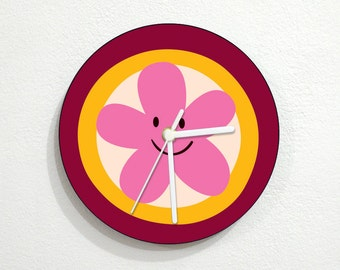 Pink Smiling Daisy - Wall Clock