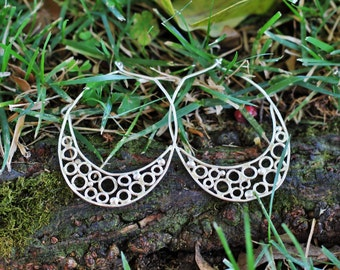 "Silver Wire ""Bubble"" Hoop Earrings"