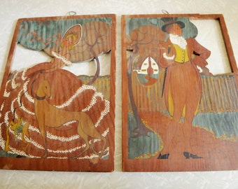Very Cute Old Portraits Painted on Wood