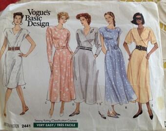 Vintage Vogue Basic Design Pattern #2441 Multi Dress Pattern Sewing Supplies Sewing Tools 1990