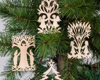 Set of 4 Christmas decorations - Christmas decor - Christmas decoration - wooden snowflakes - Christmas snowflakes - wooden ornaments