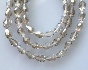 25 Light Smoky Quartz Chinese Glass Teardrop Beads