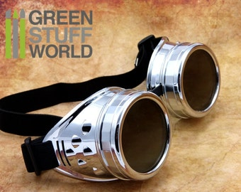 SteamPunk GOGGLES in SILVER METAL color - with adaptable elastic bands