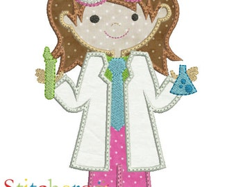 Girl Scientist Applique Design -In Hoop sizes 5 x 7, 9x9 - Instant Download - for Embroidery Machines