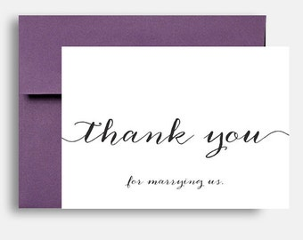 Wedding Thank You for Marrying us Card - Custom 5x7 Thank You Wedding Cards s - Calligraphy - Mr + Mrs Stationery
