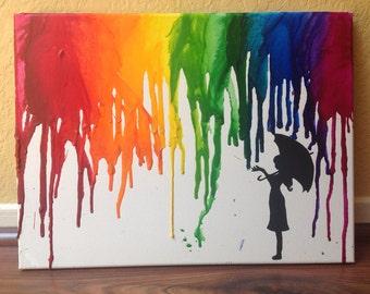 Rainbow/Rain Umbrella Melted Crayon Art