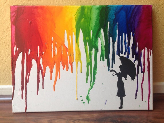 RainbowRain Umbrella Melted Crayon Art