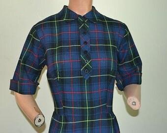 ORIGINAL 50s Tartan Blue Plaid Wool Wiggle Dress Secretary dress Mad Men Audrey  Medium Size 11 Vicky Vaughn