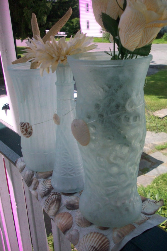 Upcycled Vintage Painted Glass Vases For Wedding Decor