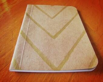 Handmade Gold Painted Chevron Notebook, Handpainted Journal, Original Mini Diary and Jotter, Illustrated Notebook