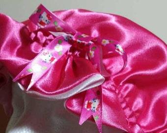 Hello Kitty Pink Reversible Satin Bonnet