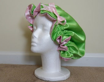Pink and Green Reversible Satin Bonnet