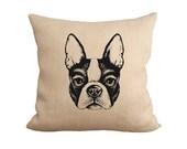Burlap Pillow, Boston Terrier, Cute Boston Terrier, Fiber and Water