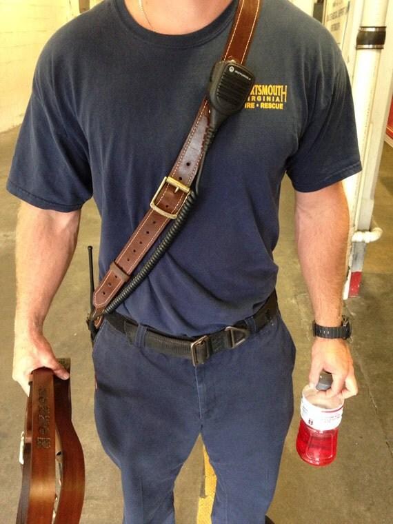 Items Similar To Custom Leather Fireman Radio Strap On Etsy