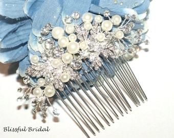 Crystal Pearl Hair Comb, Pearl Bridal Comb, Wedding Pearl Side Hair Comb, Wedding Hair Accessory, Pearl Bridal Hairpiece