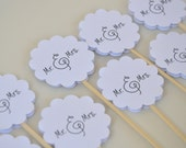 Mr and Mrs Cupcake Toppers,12 Wedding Cupcake Toppers, Engagement Party Cake Topper, Bridal Shower, Kitchen Tea, Dessert picks,Wedding picks