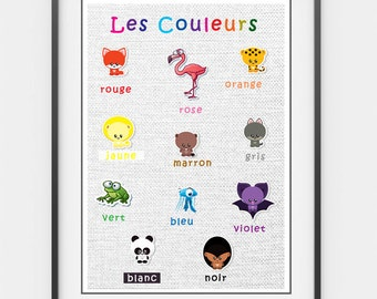 Printable French Colours Poster