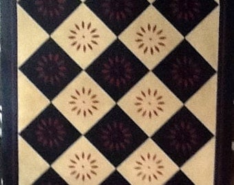 Hand painted stenciled rug/floorcloth. Traditional design cream black and maroon, with colonial starburst motif