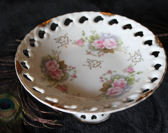 Vintage Lefton China Reticulated Pedestal Bowl with Pink Victorian Rose Pattern
