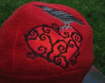 Raven and Thorny Heart Fleece Ear Flap Hat