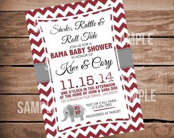 Alabama Baby Shower Invitation - chevron - crimson