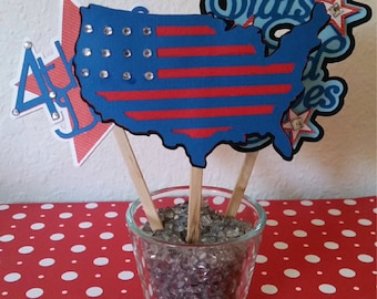 Fourth of July decor!! Set of 3 Cake or cupcaketoppers! Price drop! 4th of July decor|| patriotic cake topper