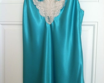 Teal Satin Baby Doll gown with Lace Trim by Wendy Ann