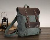 Brown Canvas backpack , Canvas bag ,Student Canvas backpack , Leisure bag, canvas shoulder bag