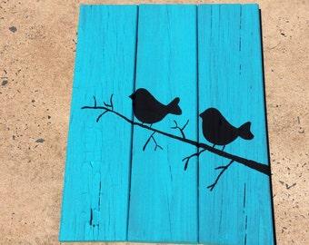 Gorgeous birds on blue background