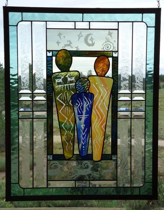 Panneau de fen tre vitrail lunettes main souffl la grande for Panneau de fenetre