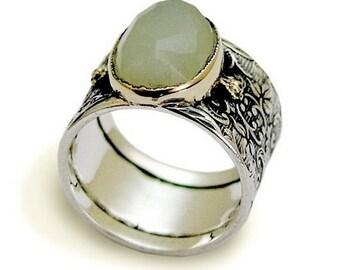 jade engagement ring vintage gemstone band sterling silver two tones ring rose - Jade Wedding Ring