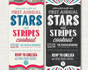 Stars & Stripes Party Cookout Chalkboard Independence Day Wood 4th of July Labor Day Memorial Day Grill Out Invitation