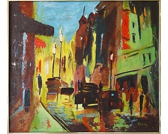Midc-Century  Modern Abstract Street Scene Oil Painting