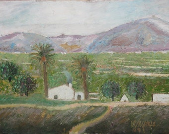 1994 Oil painting impressionist landscape signed