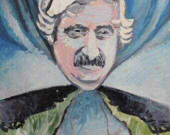 Vintage surrealist oil painting male portrait signed