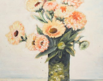 Antique floral oil painting flowers