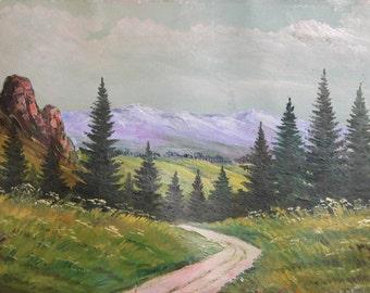 Antique Impressionist Composition Oil Painting Landscape Road Trees