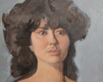Woman Portrait Vintage Oil Painting