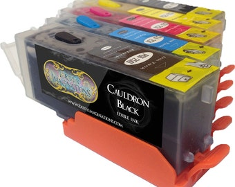 Edible Ink Cartridges for CLI-251/PGI-250 (5 Pack) with Resettable/Refillable Chips