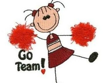 INSTANT DOWNLOAD - Cheerleader Stick People (4x4 hoop) Pom Poms are Fringe - Machine Embroidery