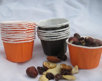 24 Mini Orange and Black Treat Cups - Party Cups - Candy Cups - Nut Cups - Chex Mix Cups - Trail Mix Cups Dip Cups