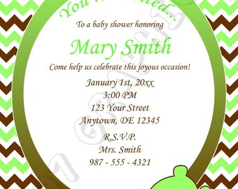 Baby shower invitation (Brown & Green) - Printable