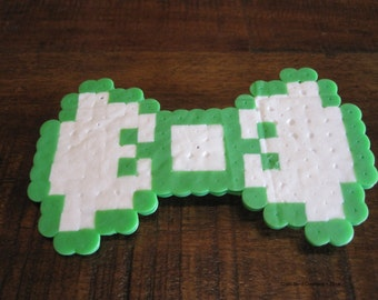 Green and White Perler Bead Hair Bow