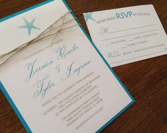 Beach Wedding Invitation,Starfish Wedding Invitation,Destination Wedding Invitation,Ocean Wedding Invitation,